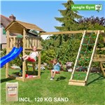 Legetårn komplet Jungle Gym Cottage inkl. Climb module x'tra, 120 kg sand og blå rutschebane