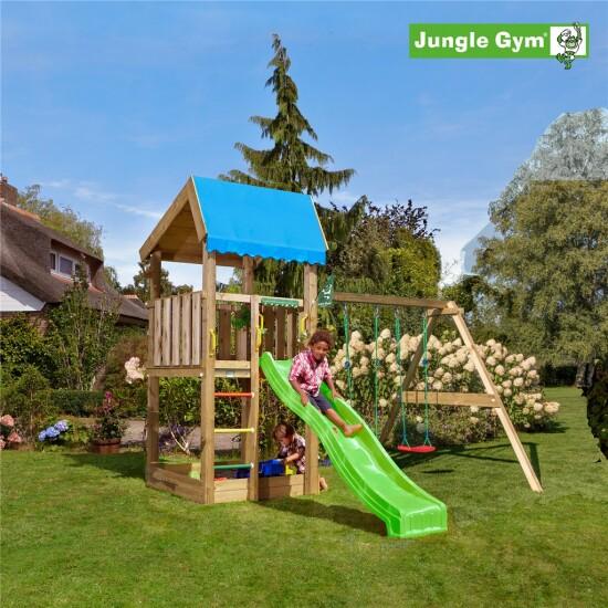 Legetårn komplet Jungle Gym Home inkl. Swing module x'tra og rutschebane