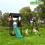 Legetårn komplet Jungle Gym Casa inkl. Swing module x'tra og rutschebane, grundmalet sort