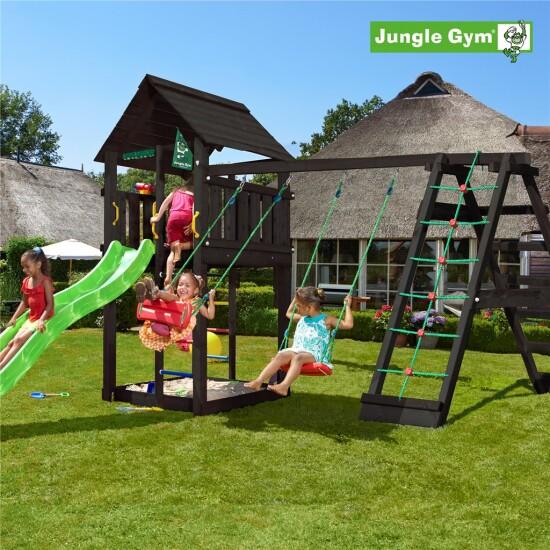 Legetårn komplet Jungle Gym Cabin inkl. Climb module x'tra og rutschebane, sort grundmalet