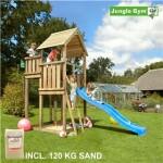 Legetårn komplet Jungle Gym Palace inkl. 120 kg sand og blå rutschebane