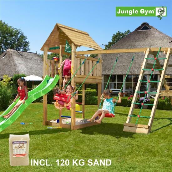 Legetårn komplet Jungle Gym Cabin inkl. Climb module x'tra, 120 kg sand og grøn rutschebane