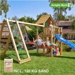 Legetårn komplet Jungle Gym Cubby inkl. Climb module x'tra, 120 kg sand og blå rutschebane