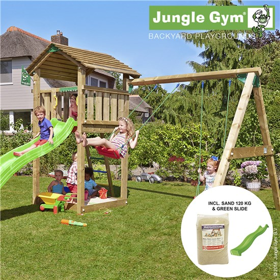 Legetårn komplet Jungle Gym Cottage inkl. Swing module x'tra, 120 kg sand og grøn rutschebane