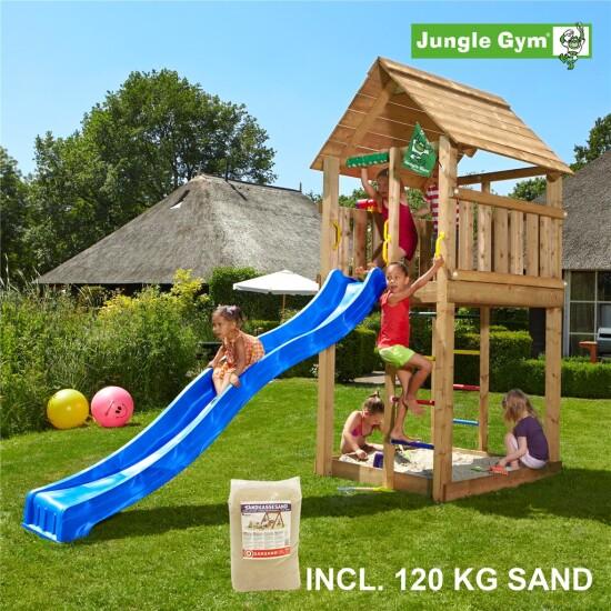 Legetårn komplet Jungle Gym Cabin inkl. 120 kg sand og blå rutschebane