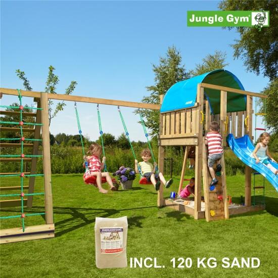 Legetårn komplet Jungle Gym Villa inkl. Climb module x'tra, 120 kg sand og blå rutschebane