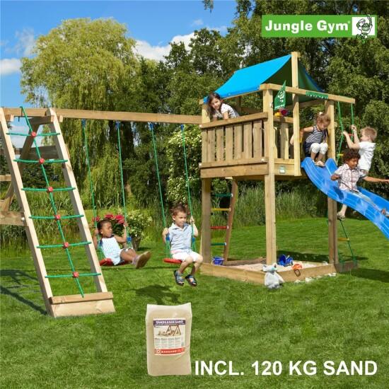 Legetårn komplet Jungle Gym Lodge inkl. Climb module x'tra, 120 kg sand og blå rutschebane