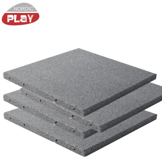 Gummiflise 50 x 50 x 3 cm grå NORDIC PLAY Active 7,5 m2, 30 stk.