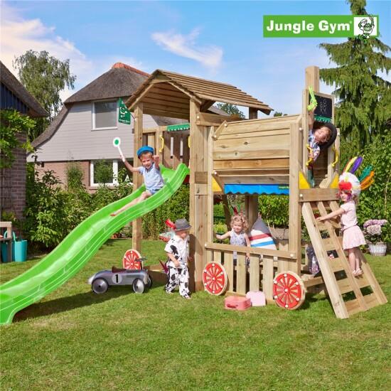 Legetårn komplet Jungle Gym Cottage inkl. train module ekskl. rutschebane