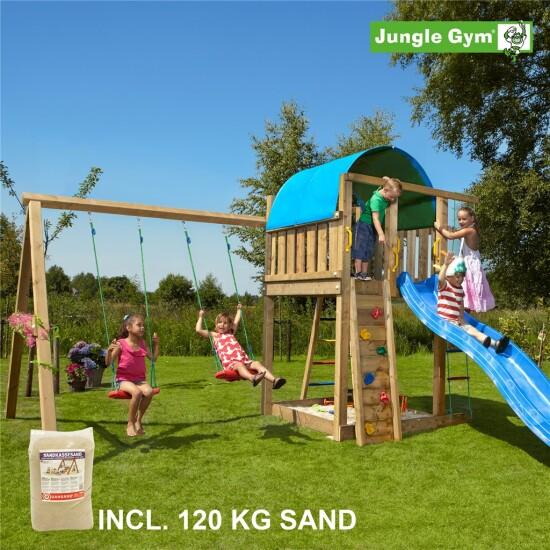 Legetårn komplet Jungle Gym Villa inkl. Swing module x'tra, 120 kg sand og blå rutschebane