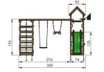 Jungle Gym Patio med klatrestativ, 2 gynger og mørkegrøn rutsjebane