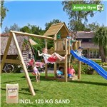 Legetårn komplet Jungle Gym Cubby inkl. Swing module x'tra, 120 kg sand og blå rutschebane