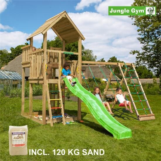 Legetårn komplet Jungle Gym Palace inkl. Climb module x'tra, 120 kg sand og grøn rutschebane