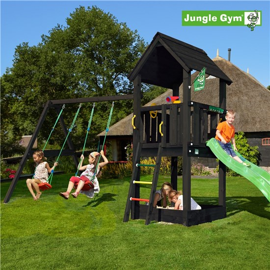 Legetårn komplet Jungle Gym Club inkl. Swing module x'tra og rutschebane, grundmalet sort