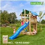 Legetårn komplet Jungle Gym Fort inkl. 120 kg sand og blå rutschebane