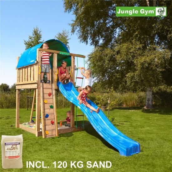 Legetårn komplet Jungle Gym Villa inkl. 120 kg sand og blå rutschebane