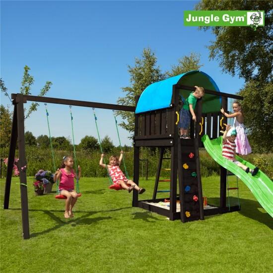 Legetårn komplet Jungle Gym Villa inkl. Swing module x'tra ekskl. rutschebane, grundmalet sort
