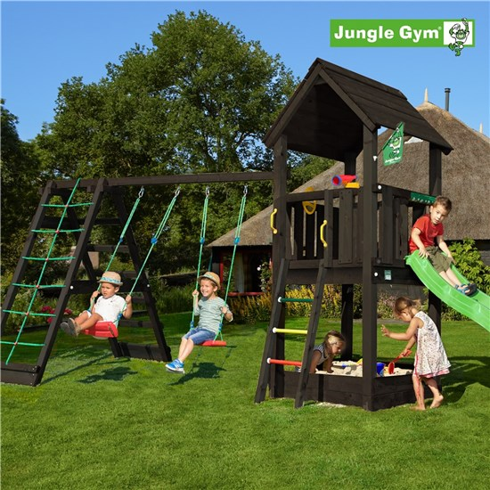 Legetårn komplet Jungle Gym Club inkl. Climb module x'tra og rutschebane, grundmalet sort