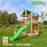 Legetårn komplet Jungle Gym Fort inkl. 120 kg sand og grøn rutschebane