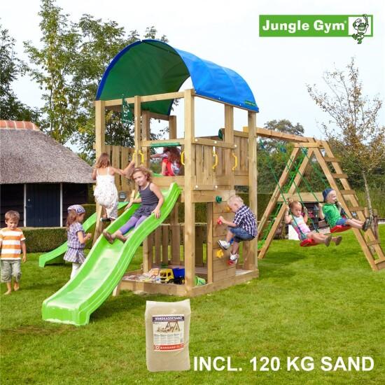 Legetårn komplet Jungle Gym Farm inkl. Climb module x'tra, 120 kg sand og grøn rutschebane