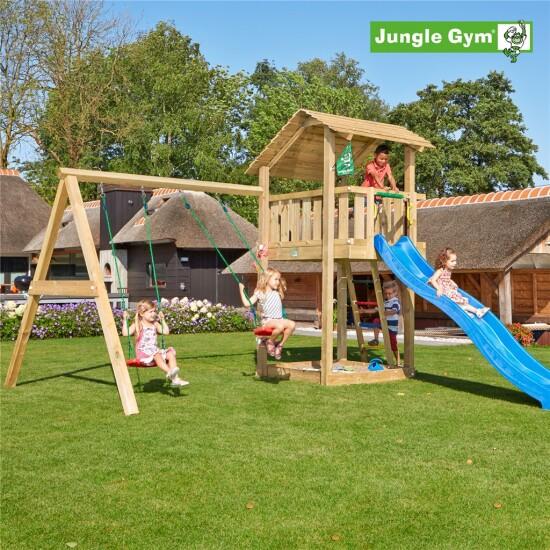 Legetårn komplet Jungle Gym Shelter inkl. Swing module x'tra og rutschebane