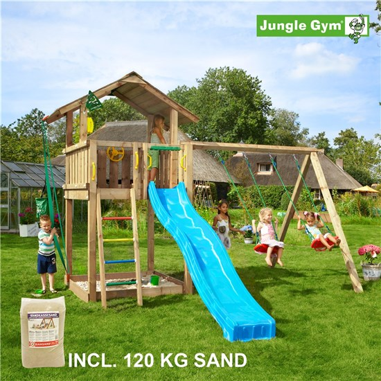 Legetårn komplet Jungle Gym Chalet inkl. Swing module x'tra, 120 kg sand og blå rutschebane