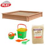 NORDIC PLAY Sandkasse lærk 150x150 cm med 240 kg sand og grønt strandsæt