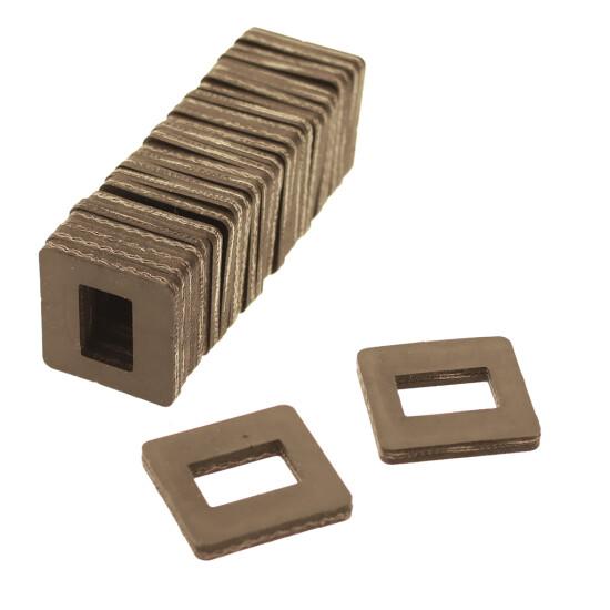 Gummiklods 50 x 50 x 5/6 mm, pk a 25 stk