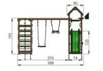 Jungle Gym Cocoon med klatrestativ, 2 gynger og mørkegrøn rutsjebane