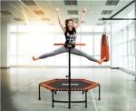 Fitness trampolin med håndtag, orange