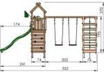 Jungle Gym Nomad med klatrestativ, 2 gynger og mørkegrøn rutsjebane