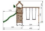 Jungle Gym Nomad med gyngestativ, 2 gynger og mørkegrøn rutsjebane