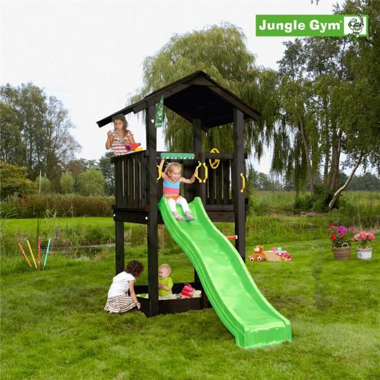 Legetårn komplet Jungle Gym Casa inkl. rutschebane, grundmalet sort