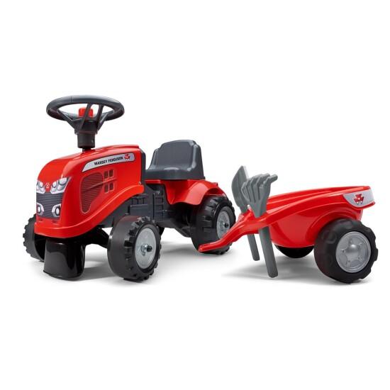 Traktor m. trailer, rive og skovl FALK Baby Massey Ferguson