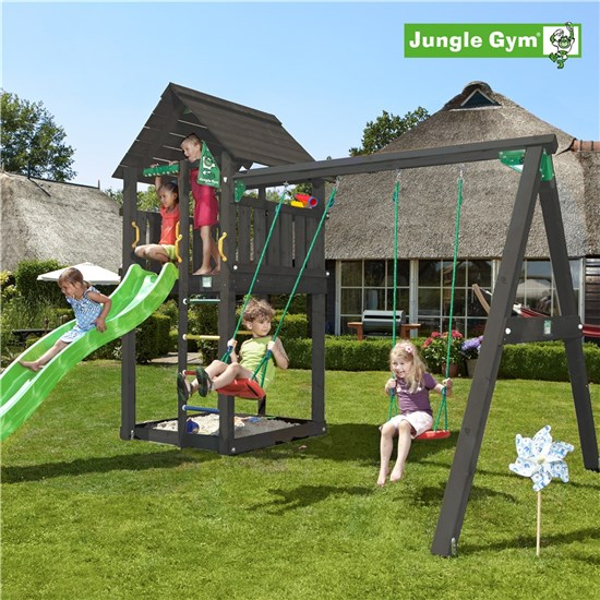 Legetårn komplet Jungle Gym Cabin inkl. Swing module x'tra og rutschebane, sort grundmalet