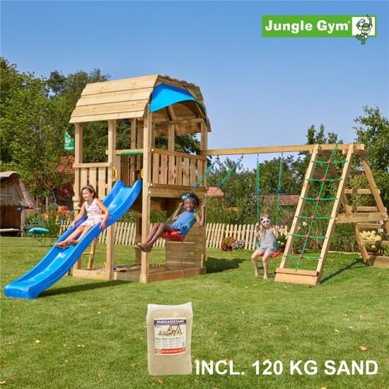 Legetårn komplet Jungle Gym Barn inkl. Climb module x'tra, 120 kg sand og blå rutschebane