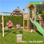 Legetårn komplet Jungle Gym Mansion inkl. Swing module x'tra, 120 kg sand og grøn rutschebane