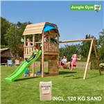 Legetårn komplet Jungle Gym Barn inkl. Swing module x'tra, 120 kg sand og grøn rutschebane