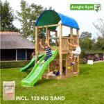 Legetårn komplet Jungle Gym Farm inkl. 120 kg sand og grøn rutschebane