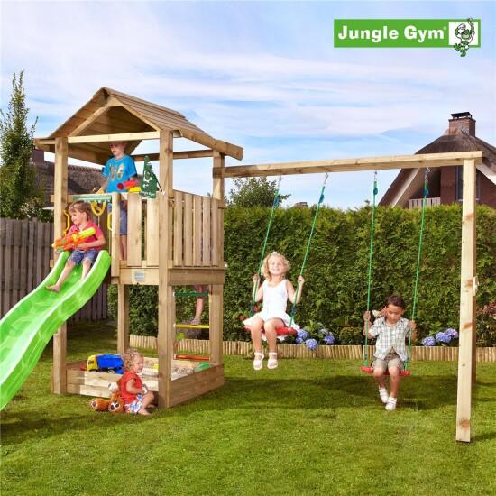 Legetårn komplet Jungle Gym House inkl. Swing module x'tra og rutschebane
