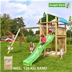 Legetårn komplet Jungle Gym Fort inkl. Swing module x'tra, 120 kg sand og grøn rutschebane