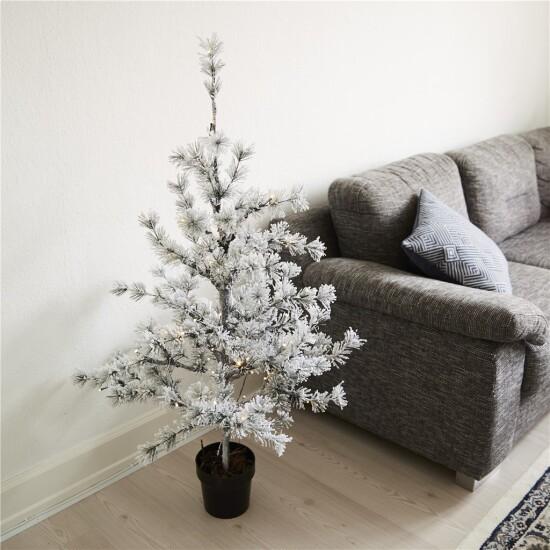 Kunstigt lærketræ i potte 120 cm med sne og lys