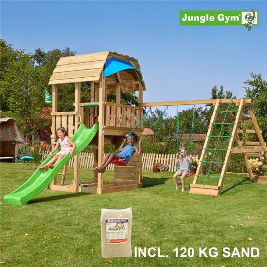 Legetårn komplet Jungle Gym Barn inkl. Climb module x'tra, 120 kg sand og grøn rutschebane