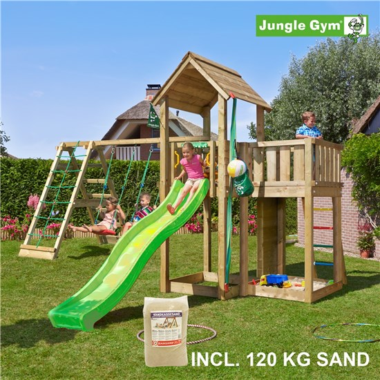 Legetårn komplet Jungle Gym Mansion inkl. Climb module x'tra, 120 kg sand og grøn rutschebane