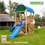 Legetårn komplet Jungle Gym Farm inkl. 120 kg sand og blå rutschebane