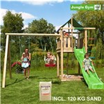 Legetårn komplet Jungle Gym Lodge inkl. Swing module x'tra, 120 kg sand og grøn rutschebane