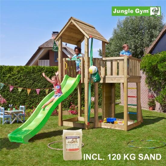 Legetårn komplet Jungle Gym Mansion inkl. 120 kg sand og grøn rutschebane