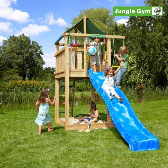 Legetårn komplet Jungle Gym Lodge inkl. rutschebane