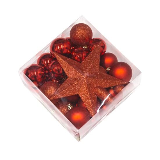 Julekugle sæt med stjerne NORDIC WINTER rød 50 dele