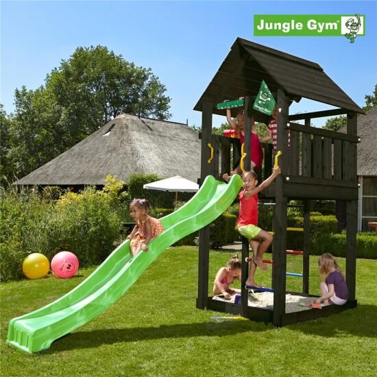 Legetårn komplet Jungle Gym Cabin inkl. rutschebane, sort grundmalet